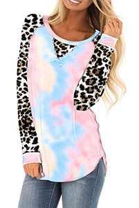 AMCLOS Womens Tie Dye Tops Casual Blouses Basic Shirt Tunic Leopard Long Sleeve (F-36,L)