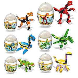 HOCHE 6 Pack Dinosaur Building Blocks Toys in Easter Eggs Good Gift for Kids
