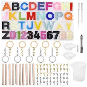 ORMAN 79 Pcs Letter Resin Molds Set, Alphabet Number Epoxy Resin Molds for Keychain Pendant DIY Craft, Silicone Jewelry Molds for Resin Casting Kits