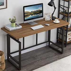 "OIAHOMY Home Office Desk,Industrial Computer Desk 55"" Large Rustic Office Desk Workstation Study Writing Desk Vintage Laptop Table for Home & Office-Oak"
