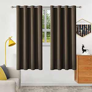 """Brown Blackout Curtains 72 inch Long Window Curtains for Living Room,Blackout Bedroom Curtains & Drapes 1 Panel Darkening Curtain,Grommet Thermal Insulated Curtains 52"""" W x 72"""" L"""