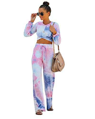Fastkoala Womens 2 Pieces Outfits Casual Long Sleeve Zipper Crop Top Tie Dye Workout Joggers Tracksuit Sweatsuit Sets Long-Pink Blue L