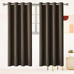 """Brown Blackout Curtains for Living Room Thermal Insulated Window Drapes 96 inches Long for Bedroom,Room Darkening Curtains 1 Panel,Soundproof Curtains with Grommet W 52"""" by L 96"""""""