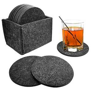 12PCS Felt Coasters for Drinks Absorbent with Multipurpose Holder,Drink Coaster Set,Coasters for Wooden Table Protection Home Office Coffee Table Decor - Housewarming Gift (Black)