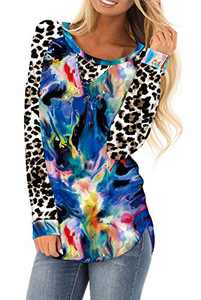 AMCLOS Womens Tie Dye Tops Casual Blouses Basic Shirt Tunic Leopard Long Sleeve (F-62,M)