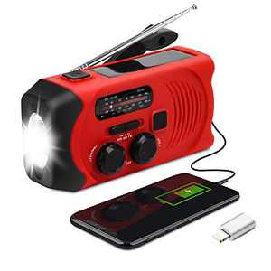 Emergency Weather Radio - Maxuni Solar Hand Crank Portable NOAA Weather Radio with AM/FM, LED Flashlight, USB Charger and SOS Alarm, 7 in 1 Emergency Whistle with Compass and Thermometer (Red)