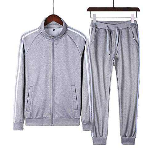 Boy's Tracksuit Running SweatSuit 12-18 Young Boy Two-piece Gym Full Zip Clothes Youths SweatSuit(Grey,XXL)