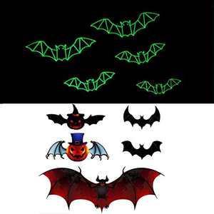 Halloween Decorations Kids Party Supplies PVC 3D Decorative Luminous Bats Wall Decal Wall Sticker, Childrens Room Decor Home Window Decoration Set, 24pc(12pc 3D Luminous Bats+12pc 3D Demon Pumpkin Bats)