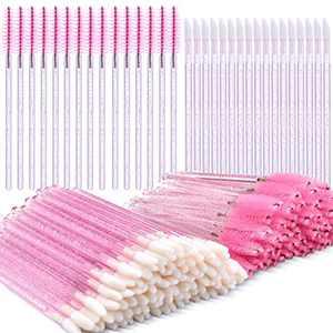 100 Pieces Eyelash Brush Mascara Wands Applicator Makeup Tool and 100 Pieces Glitter Lip Brush Crystal Lip Brush Disposable Lip Gloss Applicator Lipstick Gloss Wands