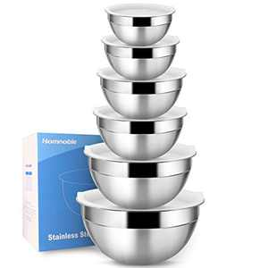 Mixing Bowls With Airtight Lids, Food Grade Stainless Steel Bowls Easy Cleaning and Dishwasher Safe, 6 Pieces Perfect Kitchen Bowls for Cooking, Baking, Stirring By Homnoble (1, 1.5, 2, 2.6, 3.5, 4QT)