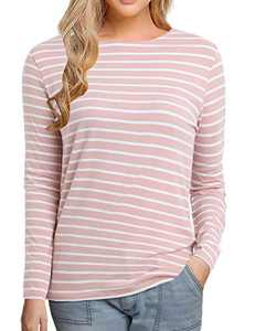 Women's Long Sleeve Striped T-Shirt Tee Shirt Tops Slim Fit Blouses (Small, Pink Stripe)