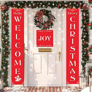 Nobie vivid Christmas Decorations Outdoor,3 Pcs Merry Christmas Porch Sign, Xmas Banners for Indoor Outdoor Front Door Living Room Kitchen Wall Party(Red Xmas Decor Banner)