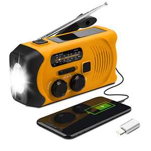 Emergency Weather Radio - Maxuni Solar Hand Crank Portable NOAA Weather Radio with AM/FM, LED Flashlight, USB Charger and SOS Alarm, 7 in 1 Emergency Whistle with Compass and Thermometer (Orange)