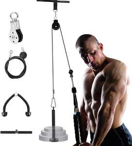 Riiai Fitness Pulley Cable Machine System Attchament, Gym Equipment for Home Gym Cable Attachment with Tricep Rope Pull Down Straight Bar for Lat Pull Downs, Biceps Curl,Tricep Pull Downs