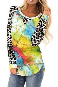 AMCLOS Womens Tie Dye Tops Casual Blouses Basic Shirt Tunic Leopard Long Sleeve (F-61,M)