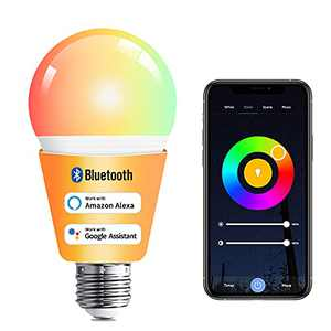 TODAAIR Smart Light Bulbs, Bluetooth & WiFi RGB+White Color Changing Dimmable 60W Equivalent E27 LED Light Bulbs A19, Alexa Devices for Home, Works with Alexa and Google Home (No Hub Required)