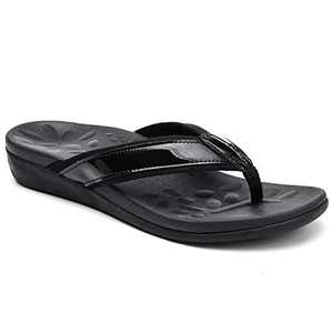 UTENAG Women's Orthotic Flip Flops Arch Support Summer Beach Sandals Thong Style Casual Flat Black