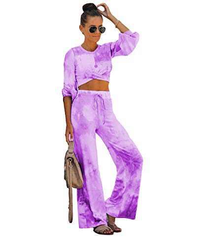Fastkoala Womens 2 Pieces Outfits Casual Long Sleeve Zipper Crop Top Tie Dye Workout Joggers Tracksuit Sweatsuit Sets Long-Purple S