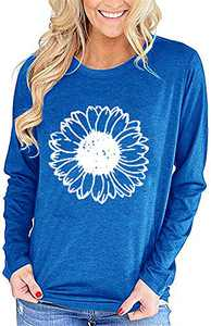 Bwogeeya Womens Long Sleeve T Shirt Graphic Sunflower Print Graphic Tees Round Neck Cotton Casual Tops (Blue,Medium)