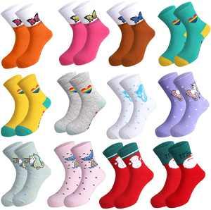 Rovtop 12 Pairs Girls Socks Novelty Cotton Socks,Baby Girl Kids Christmas Children Cute Funky Socks Kids,with a Christmas Pattern Box,11 Colors,5 Patterns
