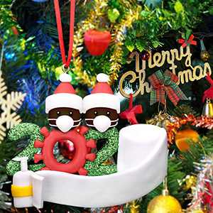 2020 Christmas Ornament Quarantine, Black Santa Christmas Tree Ornaments Holiday Decorations Hanging Ornaments
