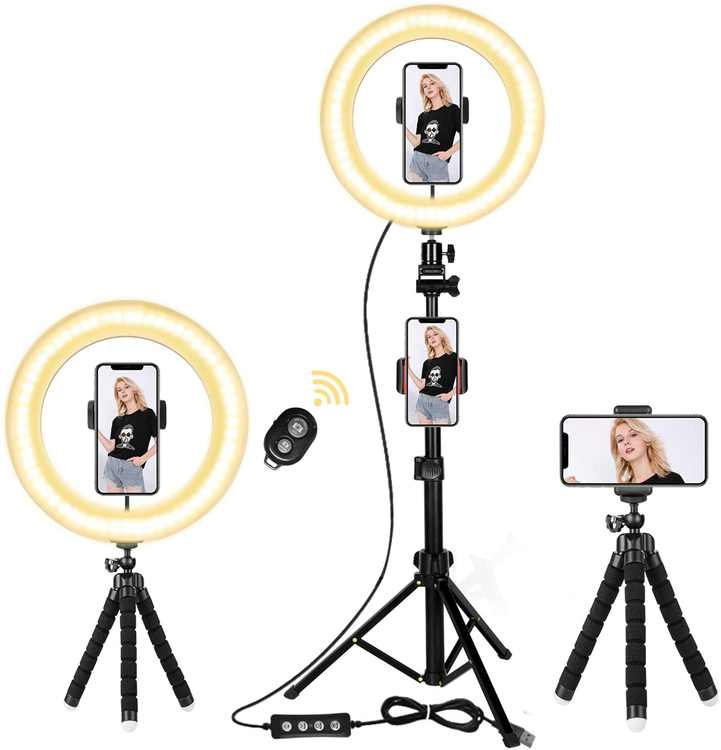 """Selfie Light Ring, 10"""" Ring Light with Tripod Stand & Cell Phone Holder, Led Ring Light for Phone, 3-Colors and 10 Brightness Levels for Live Stream/Makeup/YouTube/TikTok, Compatible with All Phones"""