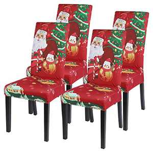 SearchI Christmas Dining Room Chair Covers Set of 4, Stretch Xmas Chair Slipcovers Protector, Spandex Washable Kitchen Parsons Chair Cover for Dining Room,Christmas Decor,Holiday Party (Santa Claus)
