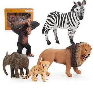 5 PCS Wild Animal Figurines Figures Toys Sets with Lion Elephant Orangutan Leopard Zebra Figure Models Party Gift for Children