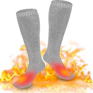 V.Step Heated Socks for Men Women, Electric Socks with Rechargeable Batteries Foot Warmer for Cold Feet Skiing Motorcycling Fishing Hunting Snow Winter, Gray