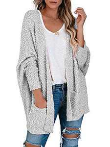 ANRABESS Womens Fuzzy Chunky Cardigan Popcorn Oversized Sherpa Slouchy Plus Size Open Sweater Coat A230huise-3XL Grey