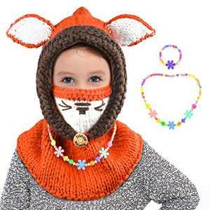 ZukoCert Winter Toddlers Kids Beanies Knitted Cap Girls Fox Cat Animal Ear Coif Hood Scarf Beanies Warm Hats(HAT-1)
