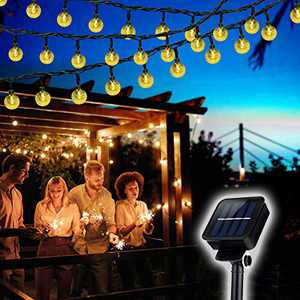 Solar String Lights, 23ft 50 LED Outdoor Bulb String Lights, Solar Patio Lights with 8 Modes, Waterproof Crystal Ball String Lights for Patio Lawn Garden Wedding Party Christmas Décor (Warm White)