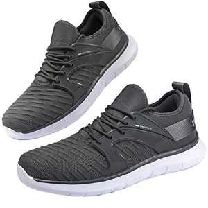 Anbenser Mens Walking Shoes Lightweight Knit Athletic Shoe Non-Slip Sneakers Size 7-15 Grey 12