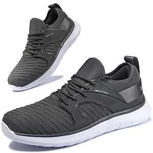 Anbenser Mens Walking Shoes Lightweight Knit Athletic Shoe Non-Slip Sneakers Size 7-15 Grey 14.5