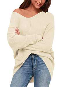 ANRABESS Women Casual Oversized Long Sleeve V Neck Off Shoulder Pullover Sweaters A239-xingse-L Apricot