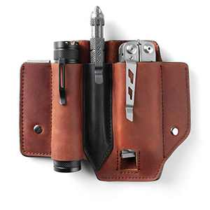 Gentlestache Leather Sheath for Leatherman Multitool Sheath EDC Pocket Organizer with Clip for Belt and Flashlight Holster Multitool with Pocket Clip Brown