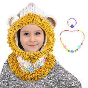 ZukoCert Winter Toddlers Kids Beanies Knitted Cap Girls Fox Cat Animal Ear Coif Hood Scarf Beanies Warm Hats(HAT-2)