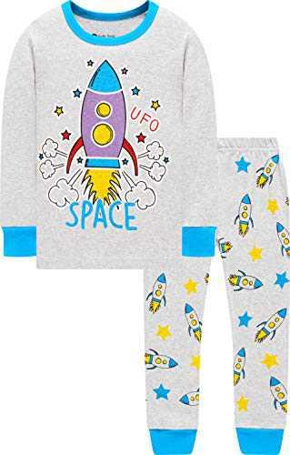 Boys Rocket Pajamas Christmas Baby Cotton Clothes Girls School PJs Gift Set Sleepwear 8t