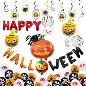 BARTIDO Halloween Party Decorations with Inflatable Happy Halloween Banner Pumpkin Spider Witch Ghost Foil Black Latax Balloon Kits Ceiling Hanging Swirls Favor Ornaments Supplies for Indoor Outdoor