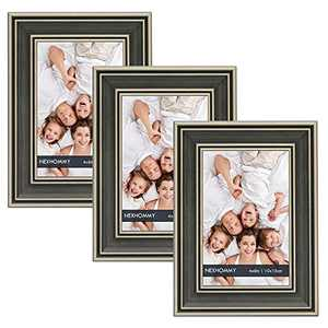 NEXHOMMY Farmhouse Picture Frames 4x6 - (3 Pack ) Rustic Vintage Distressed Black Wood Grain Finish Photo Frame with High Definition Glass for Table Top Display and Wall Hanging Set of 3