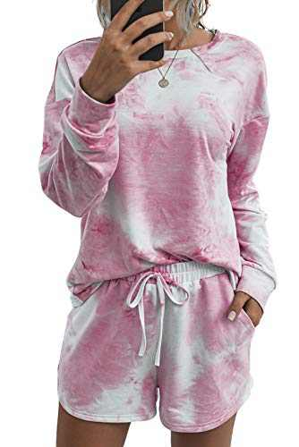 Minipeach Women's tie dye kit,Long Sleeve Tops tie dye pajamas set,lounge sets Shorts Pant PJ Set shirt Sleepwear Pink