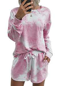 Minipeach Women's tie dye kit,Long Sleeve Tops tie dye pajamas set,lounge sets Shorts Pant PJ Set shirt Sleepwear Pink