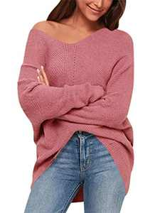 ANRABESS Women's Casual V-Neck Off-Shoulder Batwing Sleeve Pullover Sweater Tops A239hongse-M Red