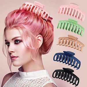 6 Packs Hair Claw ClipsAccessories,Strong Hold JawClips CrabFor Women and Girls,Large Size Hair Claws Grip Catch Classic Banana Inner Teeth Barrette 5 Color Available