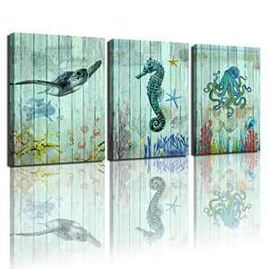 """Bathroom wall art decoration blue green turtle seahorse octopus painting canvas coastal beach theme art living room decoration is hanging bedroom kitchen children's room home decoration frame set 3 pieces 12x16"""""""