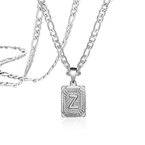 Letter Necklaces Personalized Name Boy Z Card Pendant Necklaces Christmas Gifts Cute Unique Fashion Trendy Handmade Square Stainless Steel Jewelry