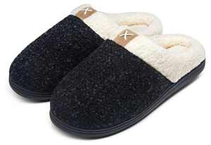 Jousen Men's Slippers Memory Foam with Warm Fuzzy Plush Indoor Outdoor House Slippers for Men(AMY203 Black 09.5&10)