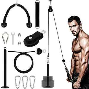 YaNovate Fitness LAT and Lift Pulley System with Loading Pin,TricepStrap Rope, CableRope for Muscle Strength, Home Workout GymEquipment Machine for Pull Downs, Biceps Curl, Forearm, Shoulder