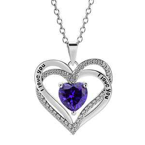 Tian Love Heart Necklace Double-Deck Plated Platinum Lovestone Pendant Necklace for Women with 5A Cubic Zirconia Jewelry (Purple)