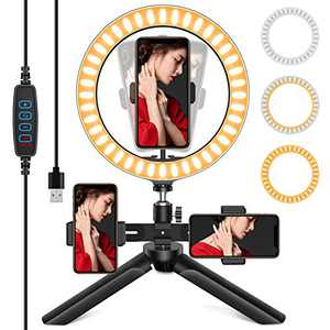 QIBOX Selfie Ring Light with Tripod Stand, 3 Phone Holders with 10'' LED Ring Lamp Light Dimmable 3 Light Modes &10 Brightness for Live Streaming/YouTube Video/Makeup/Vlog/Photography